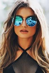 sunglasses,blue,blue sunglassess,blue and black,gold,blue black and gold,hippie glasses,round sunglasses,big sunglass