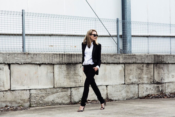 bows oracle fox blogger jacket sunglasses tailoring work outfit