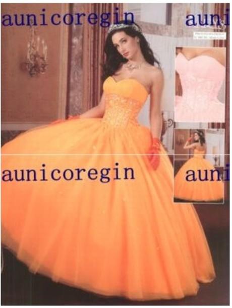 dress orange dress quinceanera dress