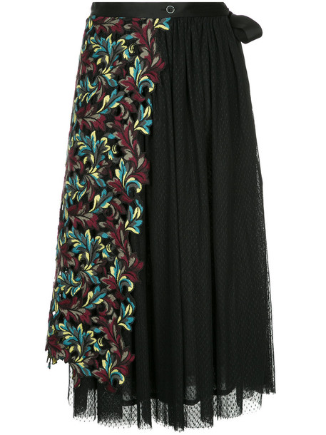 skirt pleated skirt pleated embroidered women floral black wool