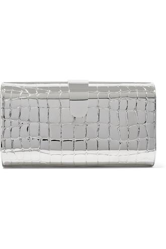 metal clutch silver bag