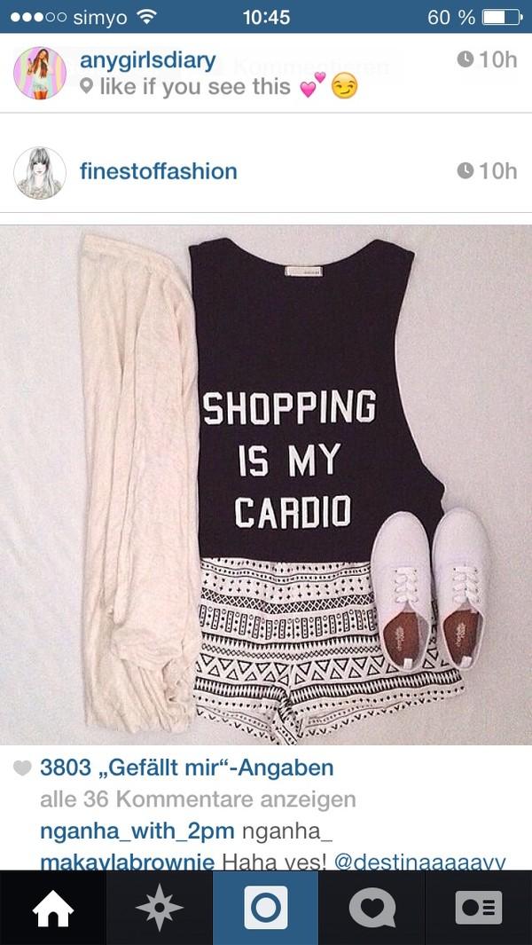 shirt style t-shirt cardigan shopping cardio shorts top black