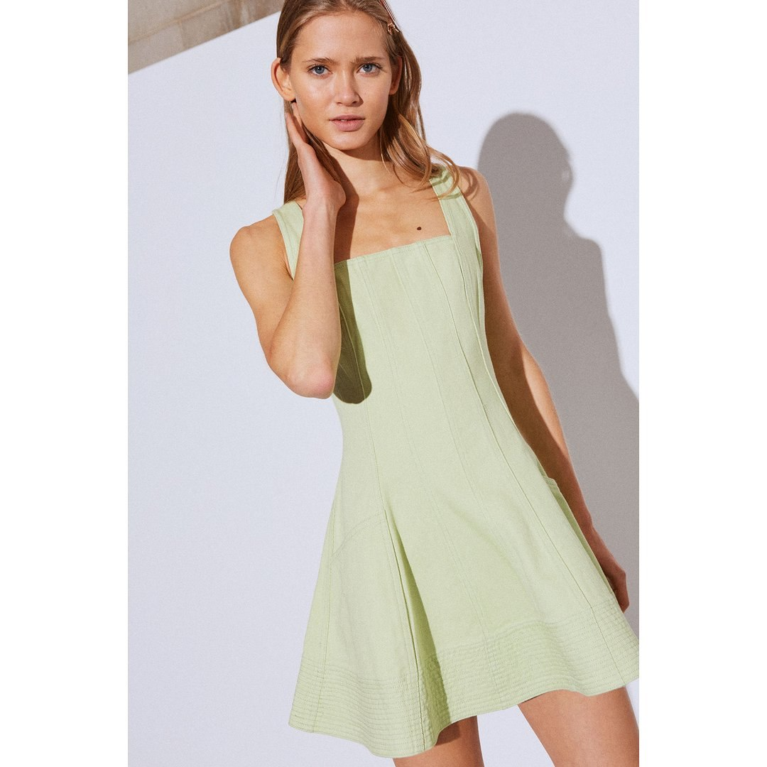 BETWEEN THE LINES DRESS - LIME