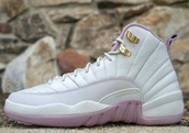 shoes,jordan's,jordans,white,pinkishrose,rose gold jordan 12,light pink jordans