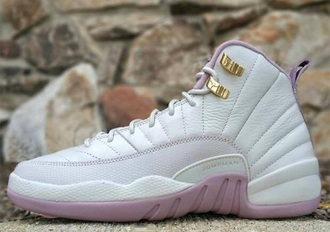 shoes jordan's jordans white pinkishrose rose gold jordan 12 light pink jordans