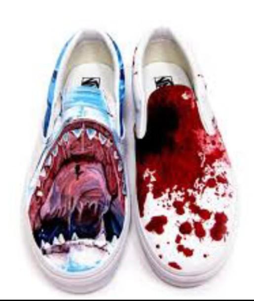 9ee5fb06f05575 shoes shark shark teeth shark tooth blood vans teeth printed vans sea  creatures