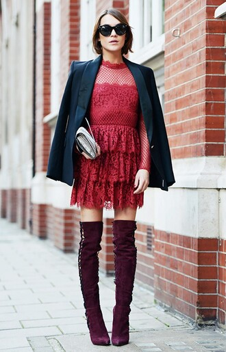 dress red dress lace dress black coat jacket purple boots floral dress lanvin lanvin dress stockholm tumblr knee high boots tumblr outfit lyst