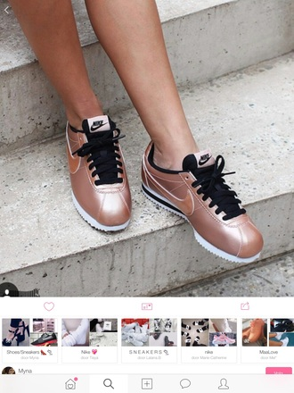 shoes nike rose gold hipster