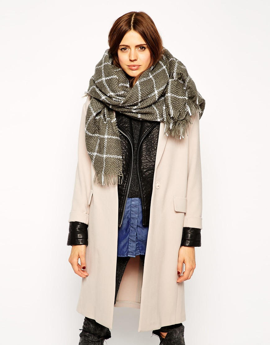 Asos oversized grid check open weave square scarf at asos.com