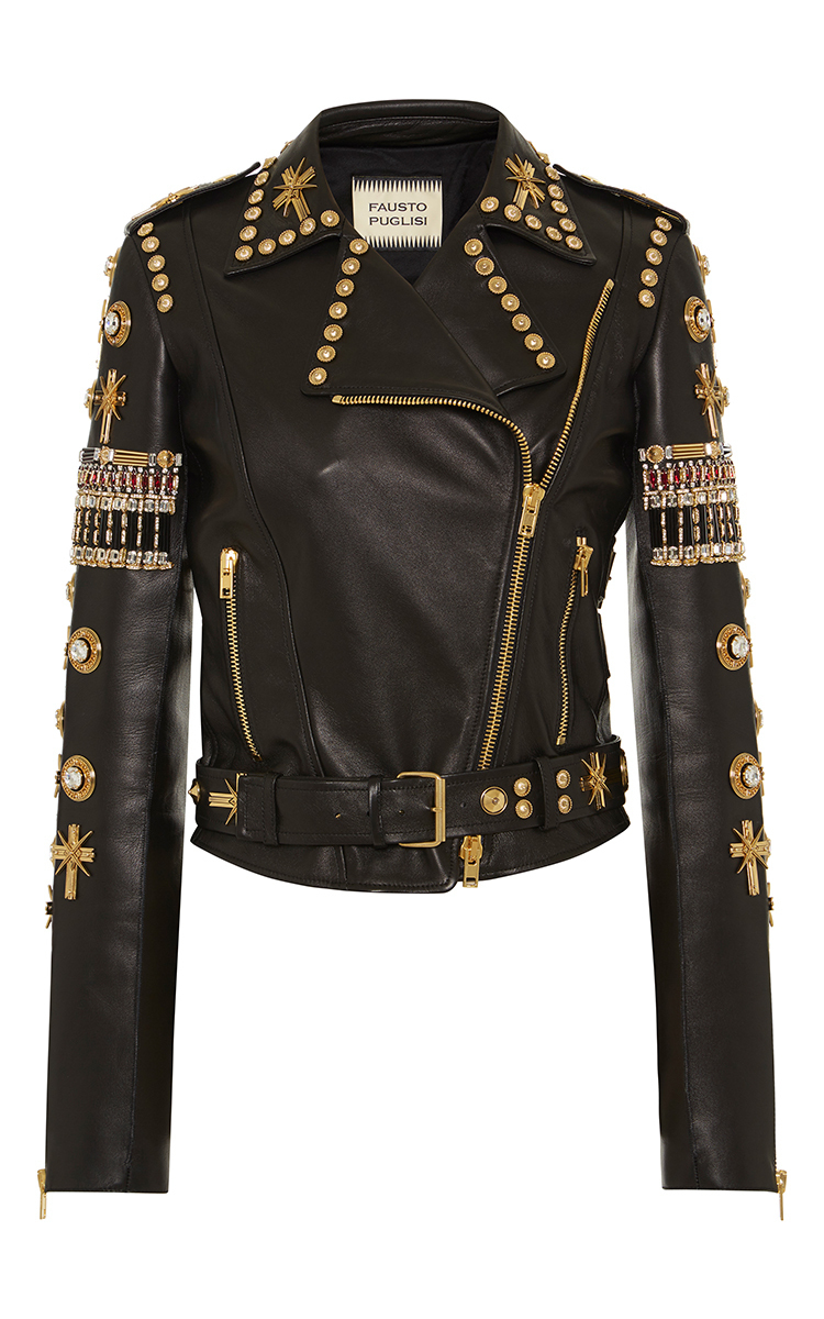 Embroidered leather biker jacket by fausto puglisi moda