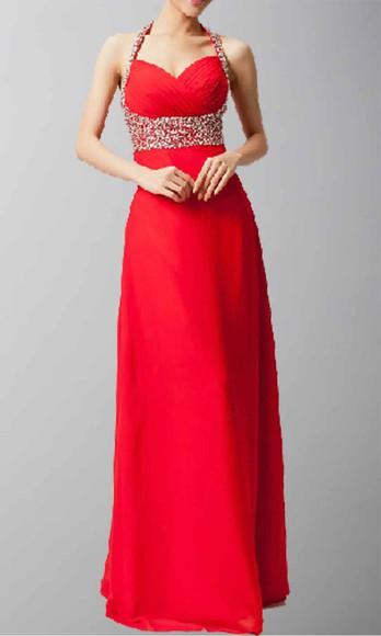 long prom dresses halter dress empire waist dress long formal dress red dress lovely pepa sequin dress