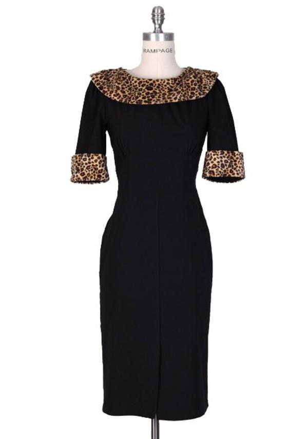 50s style 50s style vintage pencil dress black dress retro party leopard print leopard dress evening dress