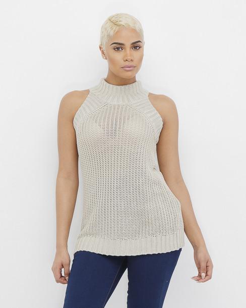Knitting Pattern For Sleeveless Sweater : Sweater: knitted sweater, sleeveless, sleeveless sweater, taupe, taupe sweate...
