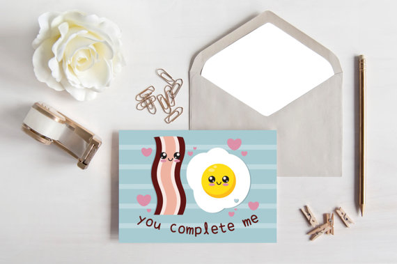 BACON and EGGS LOVE Card | You Complete Me | Printable | Digital File | 5x7 | Valentines Day | Kawaii | Boyfriend Girlfriend | Best Friend