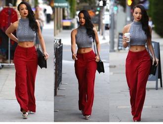 pants crop tops gray red pants black purse