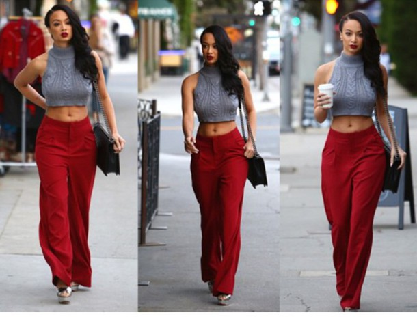pants crop tops grey red pants black purse high waisted pants red bell bottoms draya michele