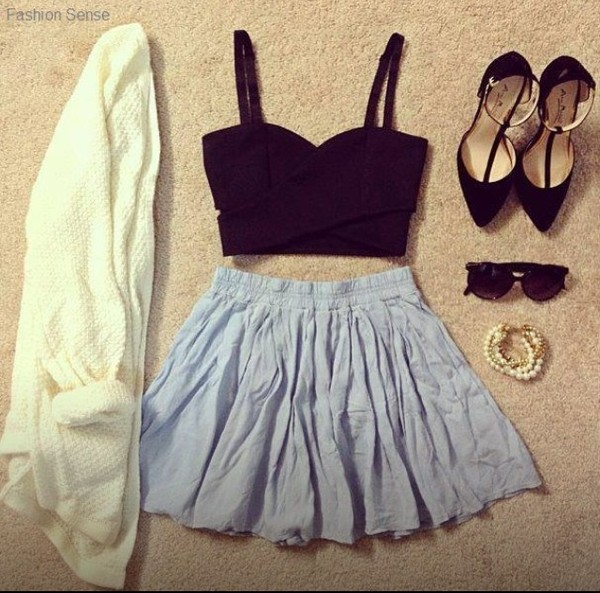 tank top clothes black crop top crop tops black skirt blue skirt blue bleue vest veste white blanche shoes jewels sunglasses sweater