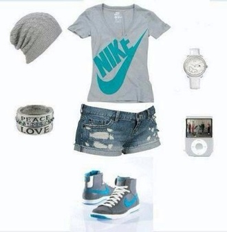 shoes nike outfit cute tennis shoes hat jewels shirt shorts