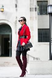 wendy's lookbook,blogger,belt,ruffle,red jacket,suede boots,black dress,jacket,dress,bag,shoes,tights,sunglasses,jewels