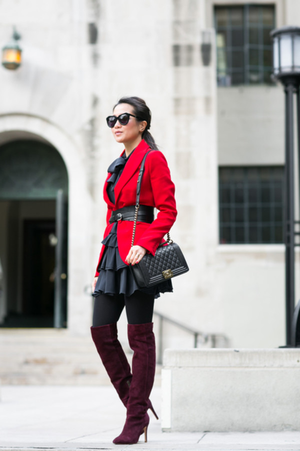 wendy's lookbook blogger belt ruffle red jacket suede boots black dress jacket dress bag shoes tights sunglasses jewels