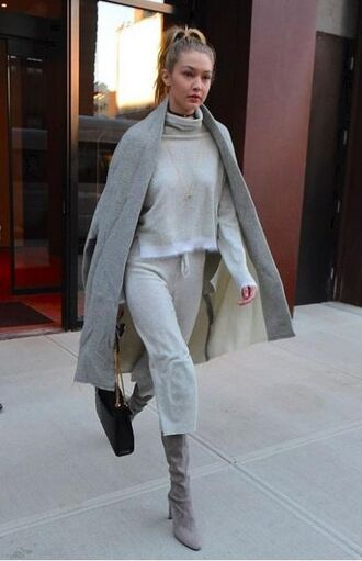 shoes grey boots pants turtleneck purse fall outfits gigi hadid sweater