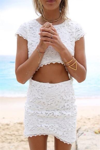 white skirt lace set
