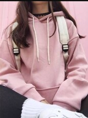 sweater,pink,hoodie,pink hoodie,pastel pink,oversized sweater