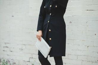 cecylia blogger black coat pouch karen millen dress coat bag