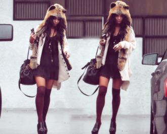 hat hood hooded scarf animal hat cute classy trill dope vanessa hudgens sweater dress fur hat fur scarf
