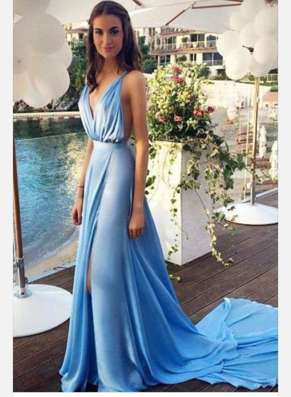 924ccaff160 dress blue satin long long prom dress light blue gown deep neckline vneck  dress long dress.