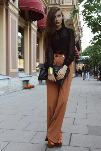 blouse black black blouse see through top pants high waisted 60s style bag clutch envelope oversized bag shoes sandals high heels summer outfits wooden heel sandal