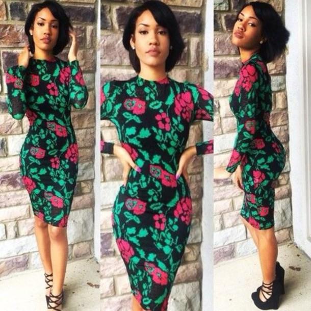 5d1995c16fb5 dress pink dress green dress black dress bodycon dress long sleeves floral  dress bodycon midi dress.