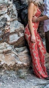 jumpsuit,red mesh jumpsuit,maxi dress,mesh,red,halter neck