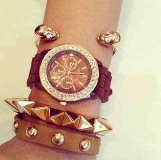 jewels leather wrist watch bracelets spikes skull cute