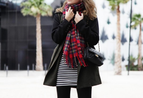 my daily style coat dress scarf bag sunglasses shoes