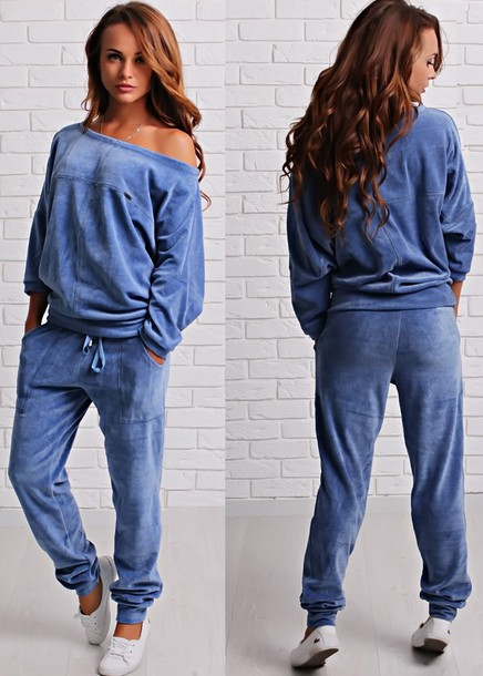 Jumpsuit Velvet Velour Off The Shoulder Top Pants Sweatshirt Sweatsuit Set Set Tracksuit Wheretoget