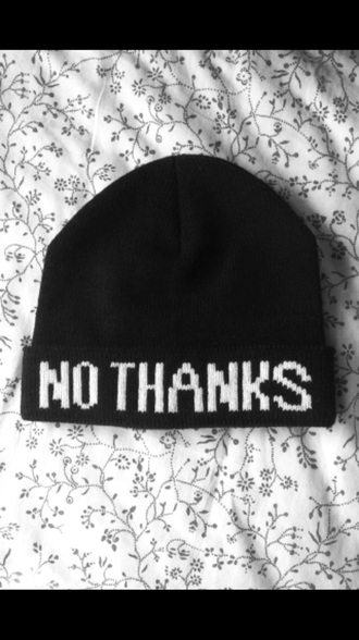 hat black black hat beanie no thanks black. says no thanks. white letters