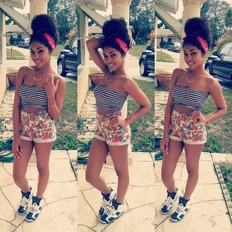 shoes tumblr air jordan cute top curly hair jordans crop tops shorts flowered shorts make-up shirt comes from lesboss batting on the wrong team blouse