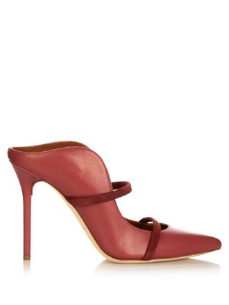 mules leather dark pink shoes