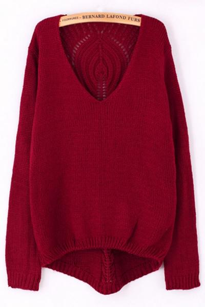 V Neck Cutout Back Sweater - OASAP.com