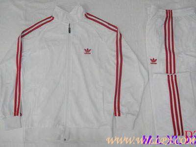 White adidas tracksuit with red stripe