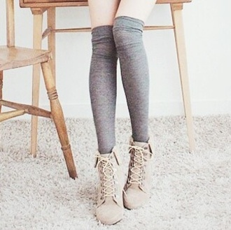 shoes wedges boots ankle boots brown shoes combat boots socks grey knee high socks beige