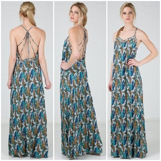 dress peacock pattern blue teal maxi dress low back style strappy back