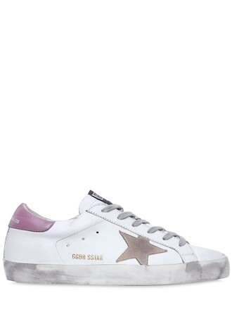 sneakers leather white pink shoes