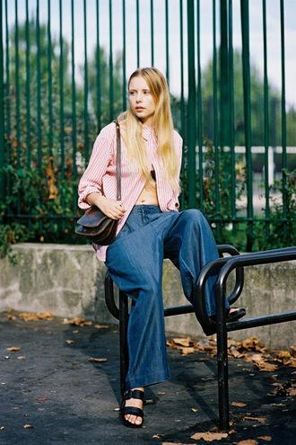 vanessa jackman blogger wide-leg pants hippie striped shirt flats