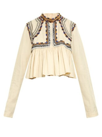 top pleated embellished cream