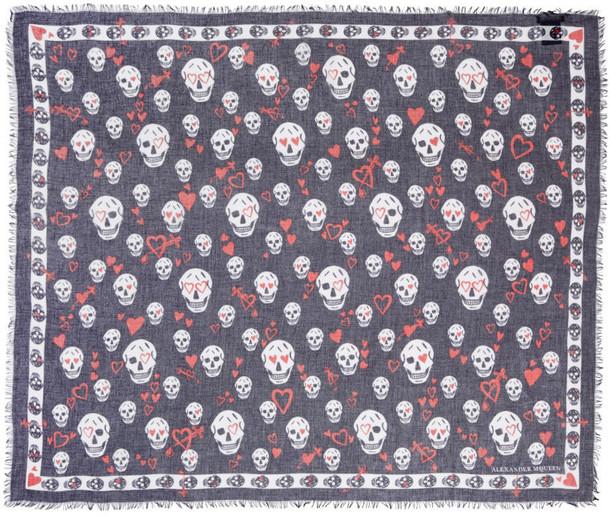 Alexander Mcqueen skull scarf black