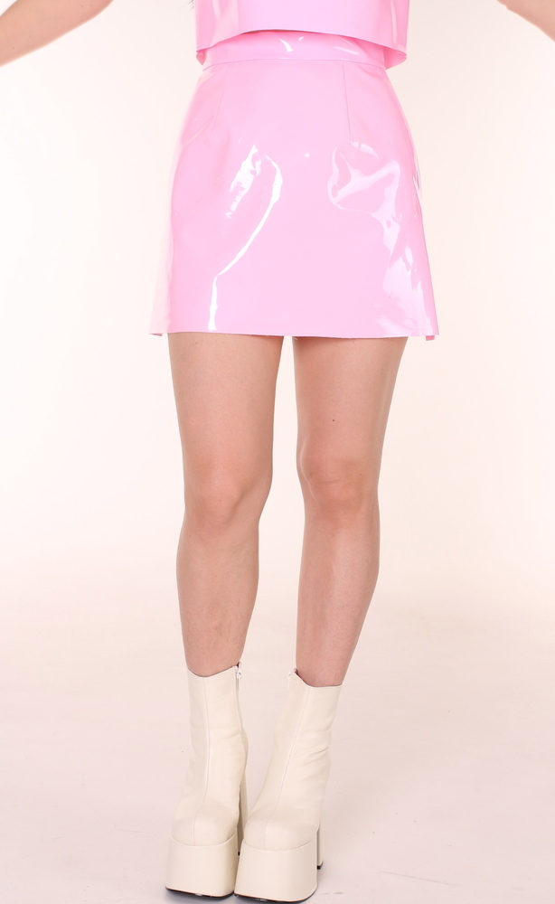 Glitters For Dinner — Made To Order - Pink PVC Motel Skirt By GFD