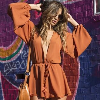 romper jumper jumpsuit rust plunging chiffon nastygal retro style outfit fall outfits