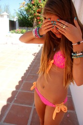 swimwear,bikini,pink,orange,girl,tumblr,cute,lace